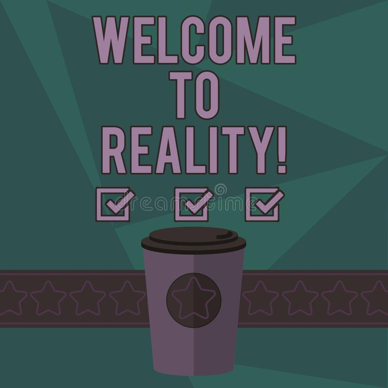 Pisać nutowym seansu powitaniu rzeczywistość Biznesowa fotografia pokazuje stan rzeczy właściwie istnieją jako przeciwstawny idea ilustracja wektor