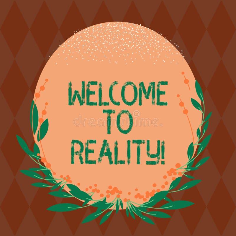 Pisać nutowym seansu powitaniu rzeczywistość Biznesowa fotografia pokazuje stan rzeczy właściwie istnieją jako przeciwstawny idea royalty ilustracja