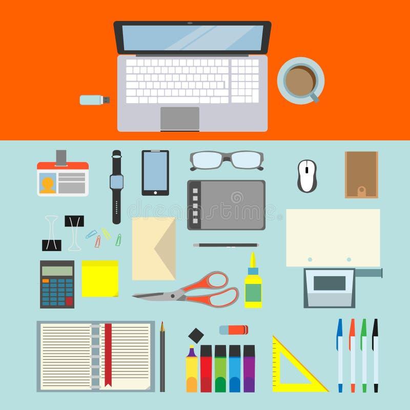 Pisać biurku z biuro notatnikiem i narzędziami wektor Płaski projekt ilustracja wektor