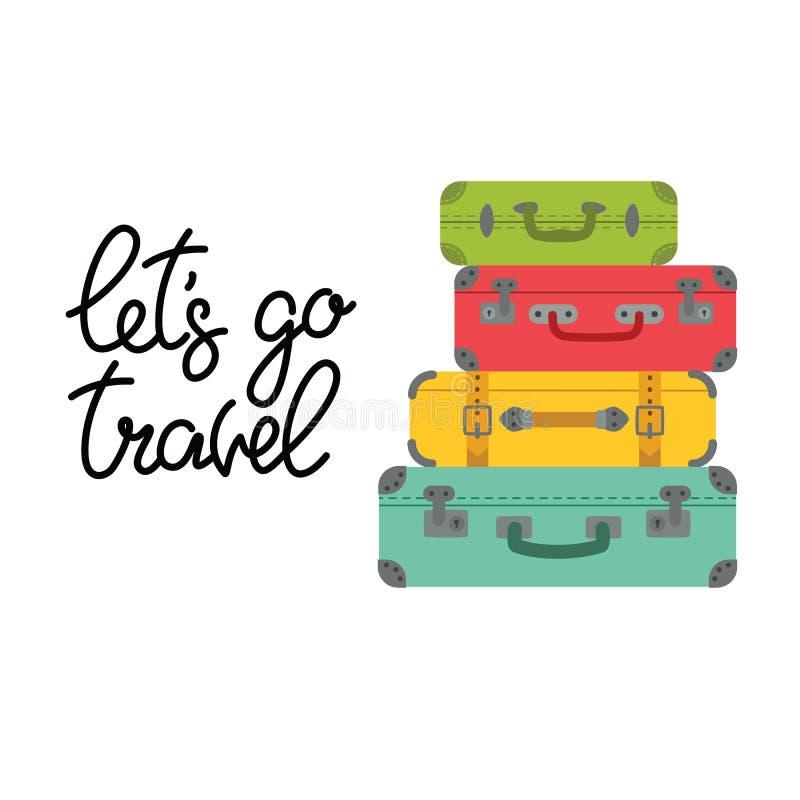 Pisać list pozwalał s iść podróż i barwione walizki ilustracji