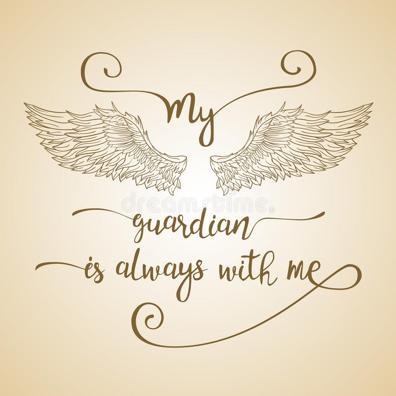 Pisać list ręka rysującą wycena z aniołów skrzydłami royalty ilustracja