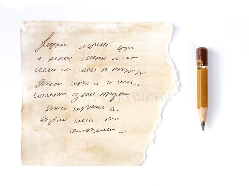 Pisać listowym rocznika świstku zdjęcie stock