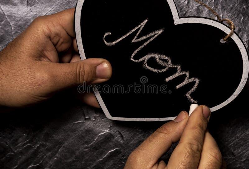 Pisać mamy słowie na kierowym kształta łupku wsiada obrazy royalty free