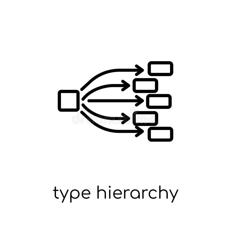 Pisać na maszynie hierarchii ikonę Modny nowożytny płaski liniowy wektorowy typ hiera ilustracji