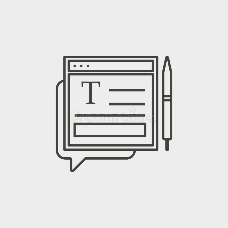 Pisać na maszynie, pisze, jest usytuowanym, zarysowywa, ikona Sieć rozwoju wektoru ikona Element prosty symbol dla stron internet royalty ilustracja