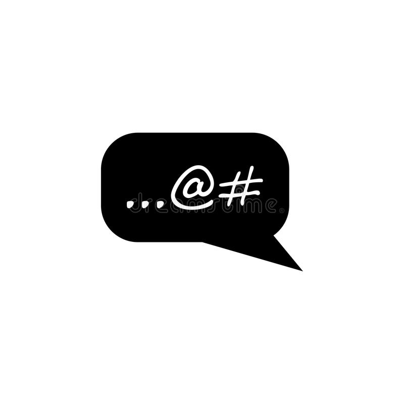 Pisać na maszynie w sieci gadki bąbla ikonie Ludzka słabość, nałogu elementu ikona Premii ilości graficzny projekt Znaki, konturó ilustracja wektor