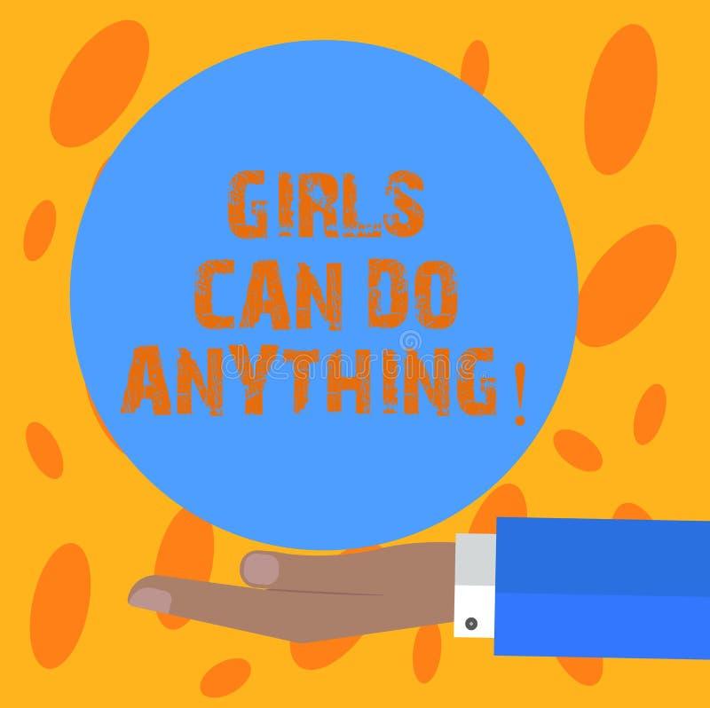 Pisać nutowe pokazuje dziewczyny Może Robić Cokolwiek Biznesowa fotografia pokazuje kobiety zasila kobiecy upełnomocnienia przywó ilustracji