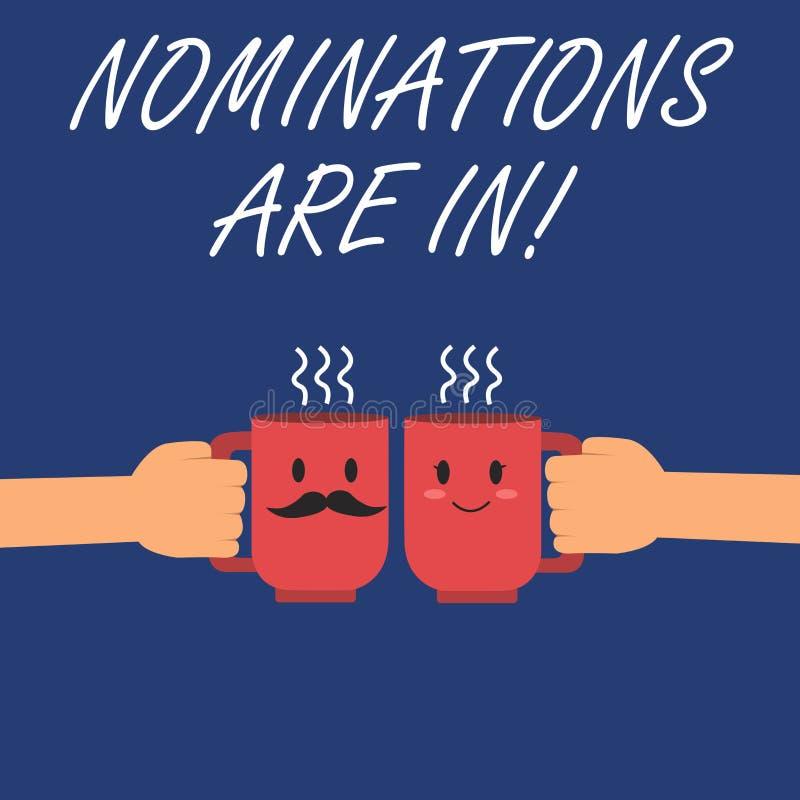 Pisać nutowe pokazuje nominacje Są Wewnątrz Biznesowa fotografia pokazuje Formalnie Wybierać someone Oficjalny kandydat dla royalty ilustracja
