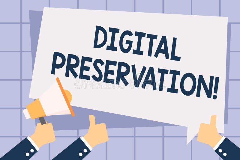 Pisać nutowej pokazuje Cyfrowej konserwacji Biznesowa fotografia pokazuje zapewniający dostęp cyfrowa informacja gdy ilustracji