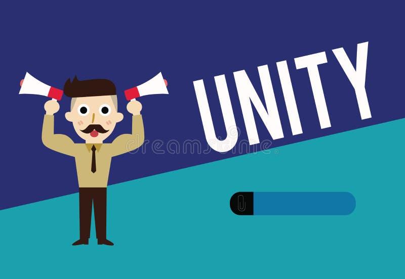 Pisać nutowej pokazuje jedności Biznesowa fotografia pokazuje stan jednoczący lub łączy jako cały zostać jeden osobą ilustracja wektor