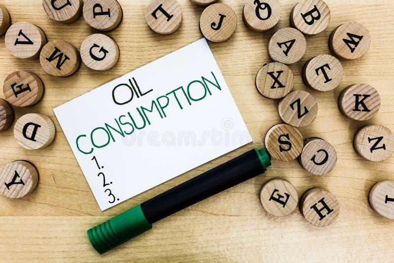 Pisać nutowej pokazuje konsumpci paliw Biznesowa fotografia pokazuje Ten wejście jest sumarycznym olejem spożywającym w baryłkach zdjęcie royalty free