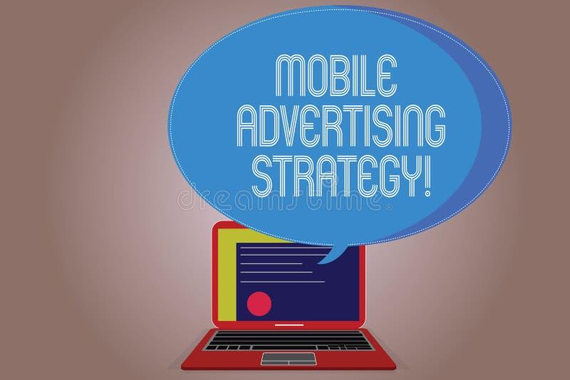 Pisać nutowej pokazuje Mobilnej Reklamowej strategii Biznesowa fotografia pokazuje marketingowego biznes usilna prośba urządzenie ilustracja wektor