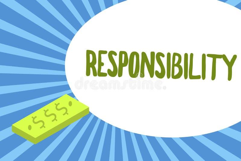 Pisać nutowej pokazuje odpowiedzialności Biznesowa fotografia pokazuje Mieć kontrola nad someone akt być odpowiedzialny royalty ilustracja