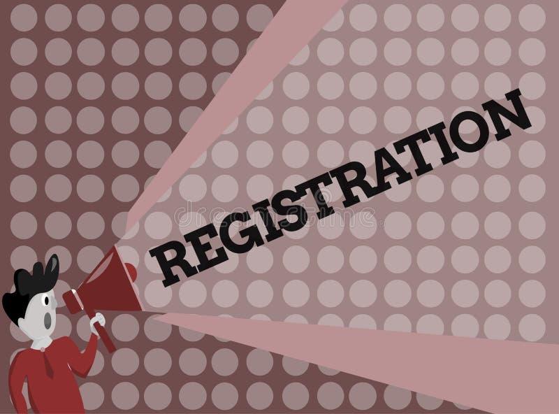 Pisać nutowej pokazuje rejestraci Biznesowa fotografia pokazuje akcję lub proces registratura lub rejestruje ilustracja wektor