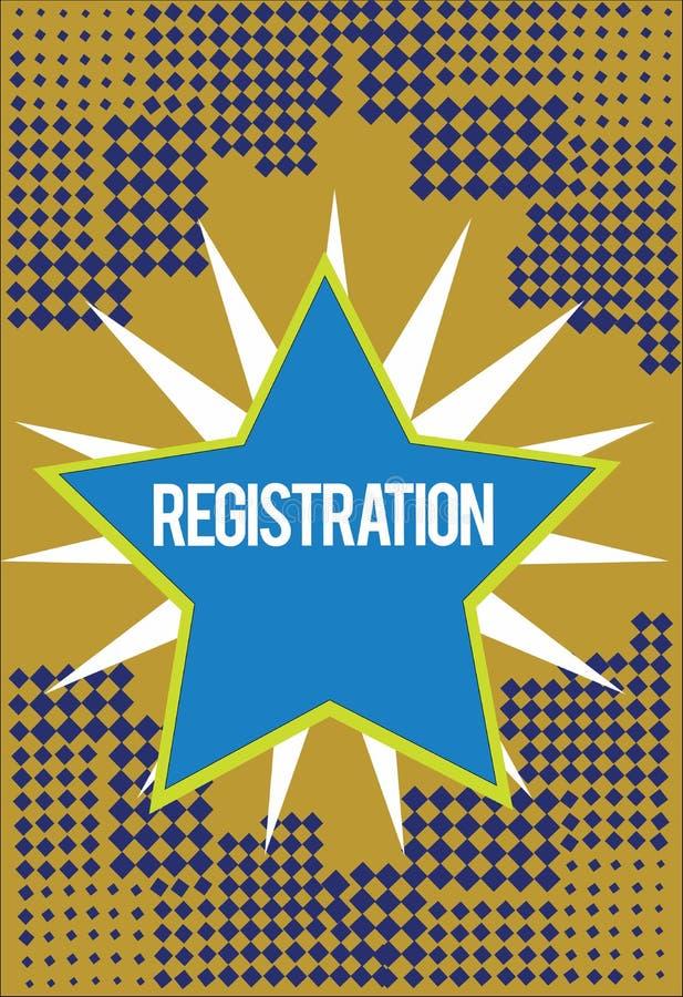 Pisać nutowej pokazuje rejestraci Biznesowa fotografia pokazuje akcję lub proces registratura lub rejestruje royalty ilustracja