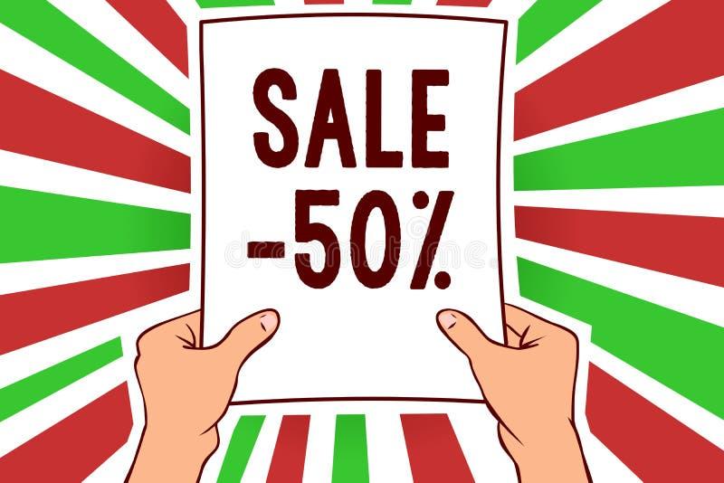 Pisać nutowej pokazuje sprzedaży 50 Biznesowa fotografia pokazuje A promo cenę rzecz przy 50 procentów markdown mężczyzna mienia  ilustracji