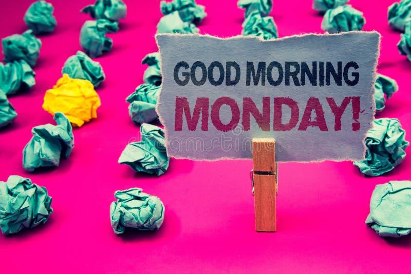 Pisać nutowemu pokazuje dniu dobremu Poniedziałek Motywacyjnym wezwaniu Biznesowa fotografia pokazuje Szczęśliwego Positivity Ene obrazy royalty free