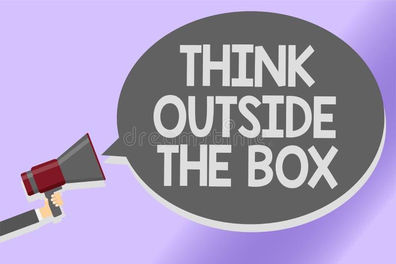Pisać nutowemu seans myśli Outside pudełku Biznesowy fotografii pokazywać Był unikalnymi różnymi pomysłami przynosi brainstorming ilustracja wektor