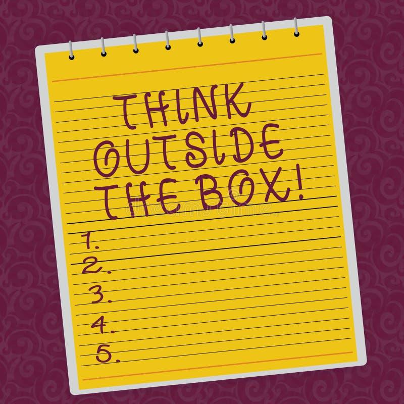 Pisać nutowemu seans myśli Outside pudełku Biznesowy fotografii pokazywać Był unikalnymi różnymi pomysłami przynosi brainstorming ilustracji