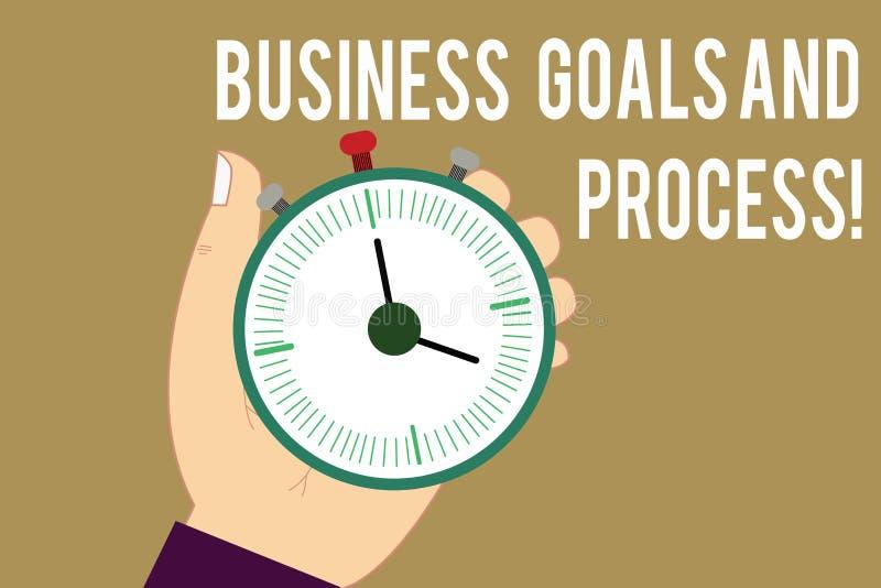 Pisać nutowemu seansowi Biznesowych celach I procesie Biznesowa fotografia pokazuje Pracujące strategie osiąga cele Hu ilustracji