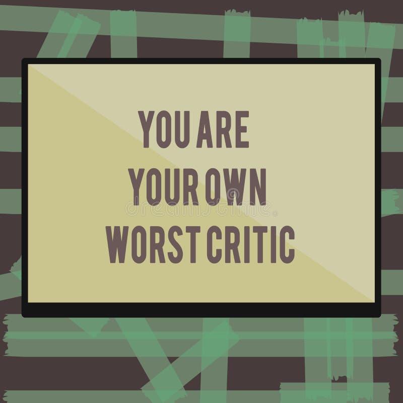 Pisać nutowemu seansowi Ciebie Jest Twój Swój Złym krytykiem Biznesowa fotografia pokazuje zbyt mocno na jaźni Pozytywna informac ilustracji