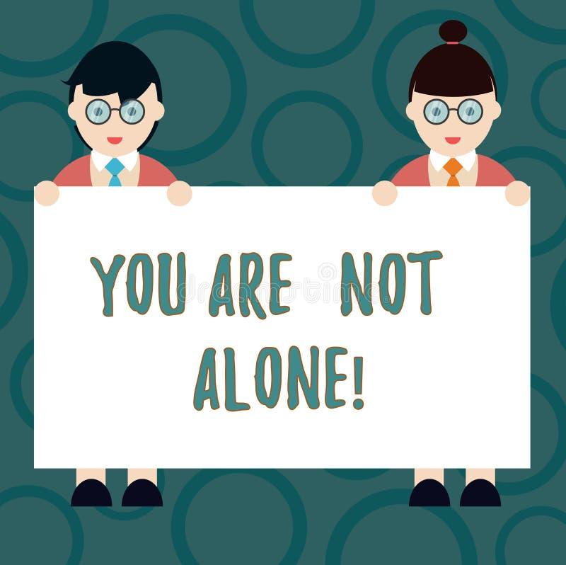 Pisać nutowemu seansowi Ciebie no Jest Samotny Biznesowa fotografia pokazuje ofiary pomocy poparcia pomocy współpracy firmy ilustracji