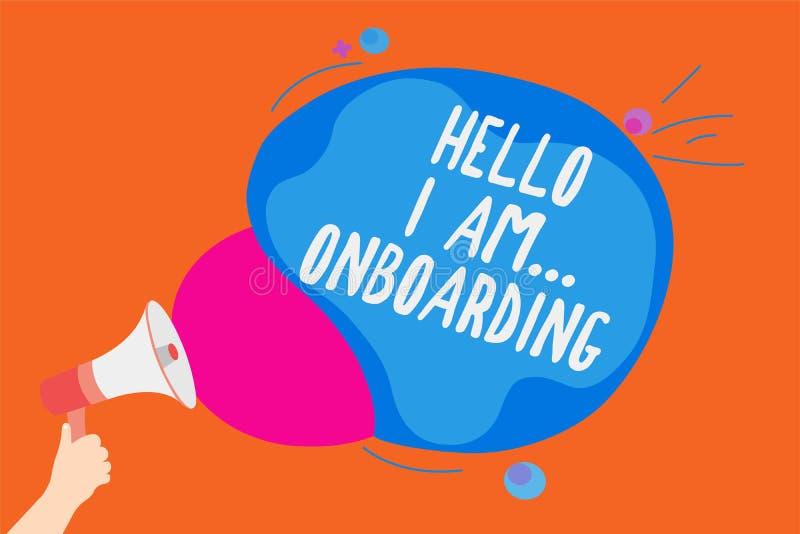 Pisać nutowemu seansowi Cześć Jestem Onboarding Biznesowa fotografia pokazuje osoby mówjący że ty jesteś na statku lub samolotu m ilustracja wektor