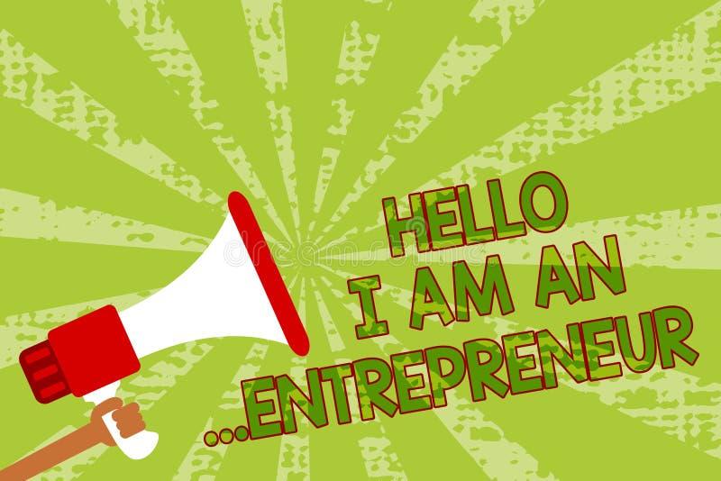 Pisać nutowemu seansowi Cześć Jestem przedsiębiorca Biznesowa fotografia pokazuje osoby która ustawia w górę biznesu lub rozpoczę ilustracji
