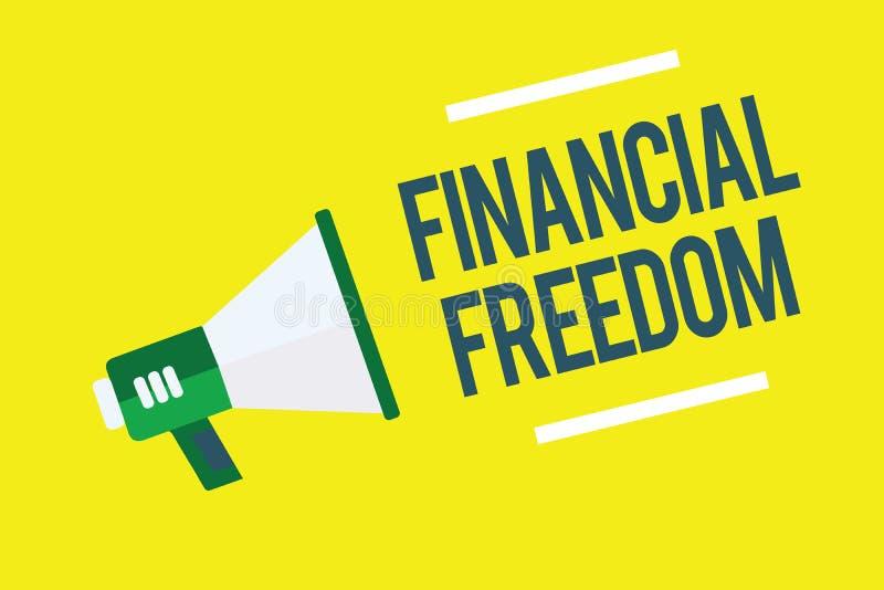 Pisać nutowemu seansowi Pieniężnej wolności Biznesowa fotografia pokazuje Swobodnie Mieć pieniądze od zmartwienia jeśli chodzi o  ilustracja wektor