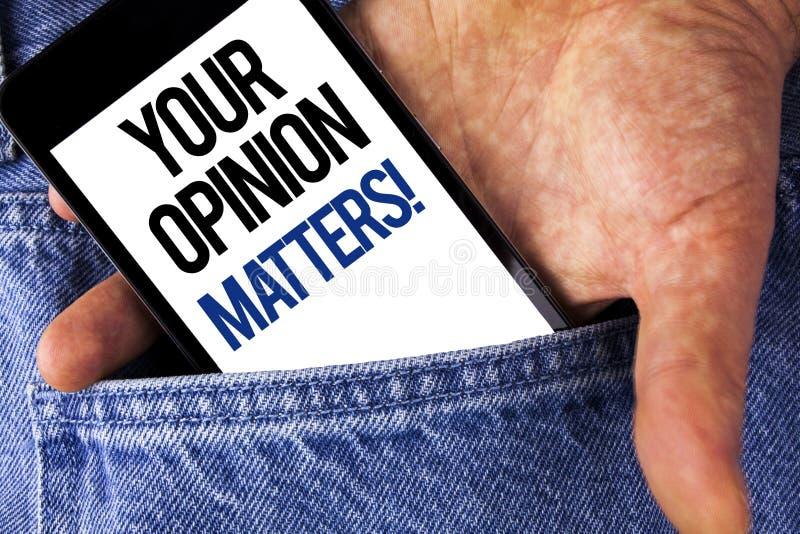 Pisać nutowemu seansowi Twój opinii Liczy się Motywacyjnego wezwanie Biznesowa fotografia pokazuje klient informacje zwrotne prze obrazy royalty free