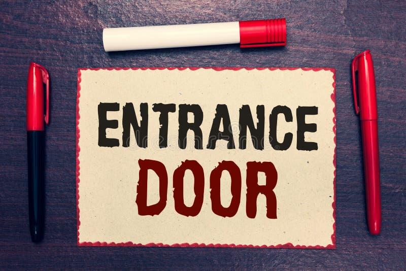 Pisać nutowemu seansowi Wejściowym drzwi Biznesowa fotografia pokazuje sposób w drzwi bramy ingresu przejścia Hasłowego Przybywaj zdjęcia stock