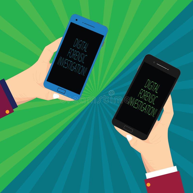 Pisać nutowy pokazuje Cyfrowemu Sądowym dochodzeniu Biznesowa fotografia pokazuje wyzdrowienie informacja od komputerów Dwa Hu ilustracji