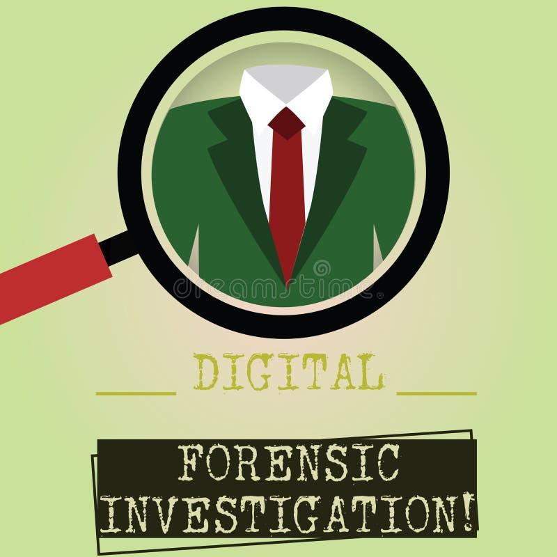 Pisać nutowy pokazuje Cyfrowemu Sądowym dochodzeniu Biznesowa fotografia pokazuje wyzdrowienie informacja od komputerów Powiększa ilustracja wektor