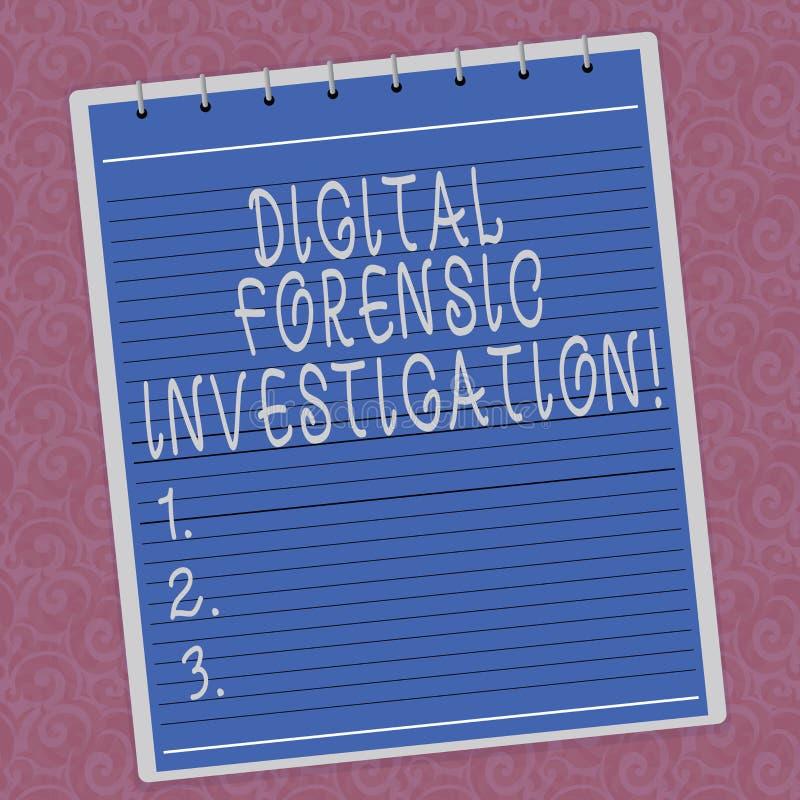Pisać nutowy pokazuje Cyfrowemu Sądowym dochodzeniu Biznesowa fotografia pokazuje wyzdrowienie informacja od komputer Wykładające ilustracja wektor