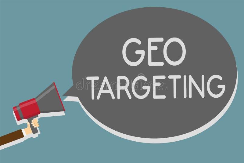 Pisać nutowy pokazuje Geo Celować Biznesowa fotografia pokazuje Cyfrowych reklam widoków adres ip Adwords kampanii lokaci mężczyz ilustracja wektor