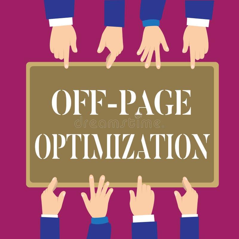 Pisać nutowy pokazywać Daleko strona optymalizacja Biznesowa fotografia pokazuje strony internetowej External procesu Promocyjną  royalty ilustracja