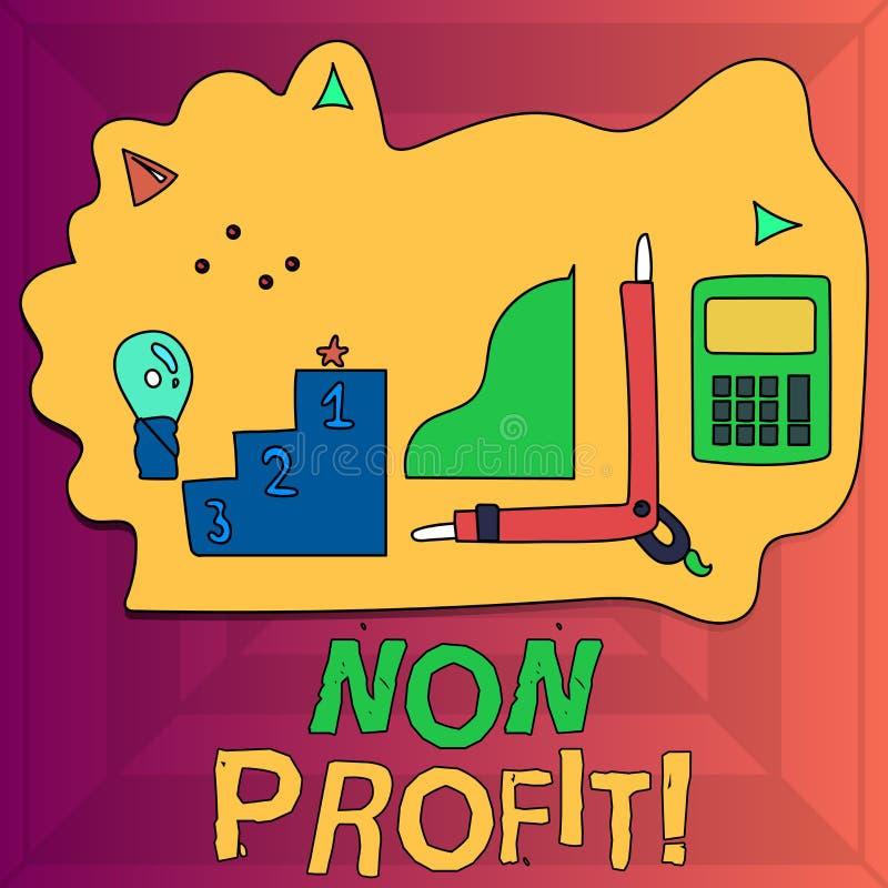 Pisać nutowy pokazywać Non zysk Biznesowa fotografia pokazuje robić lub prowadząca pierwotnie robić zysk organizacji ilustracji