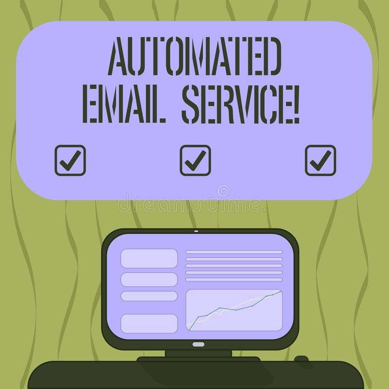 Pisać nutowy seans Automatyzującej poczty elektronicznej Biznesowa fotografia pokazuje automatyczny podejmowanie decyzji opierają royalty ilustracja