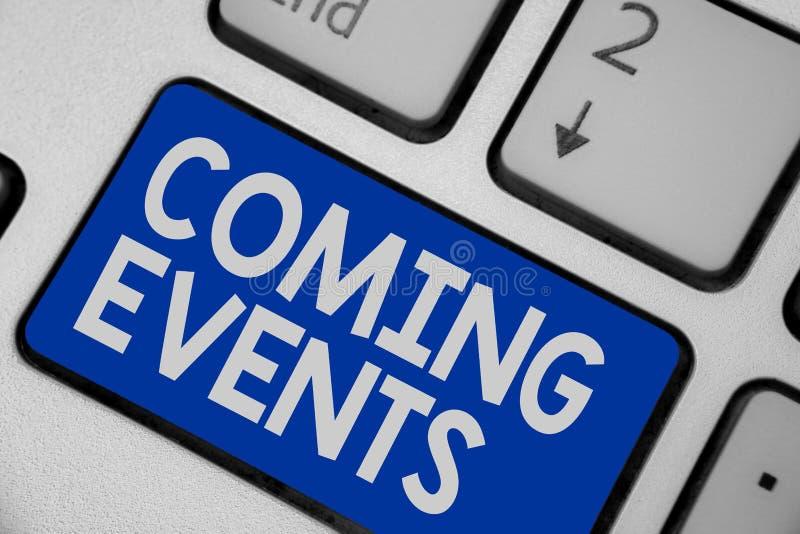 Pisać nutowych pokazuje Nadchodzących wydarzeniach Biznesowa fotografia pokazuje Zdarzający się wkrótce Nadchodzącego Projektoweg obraz stock