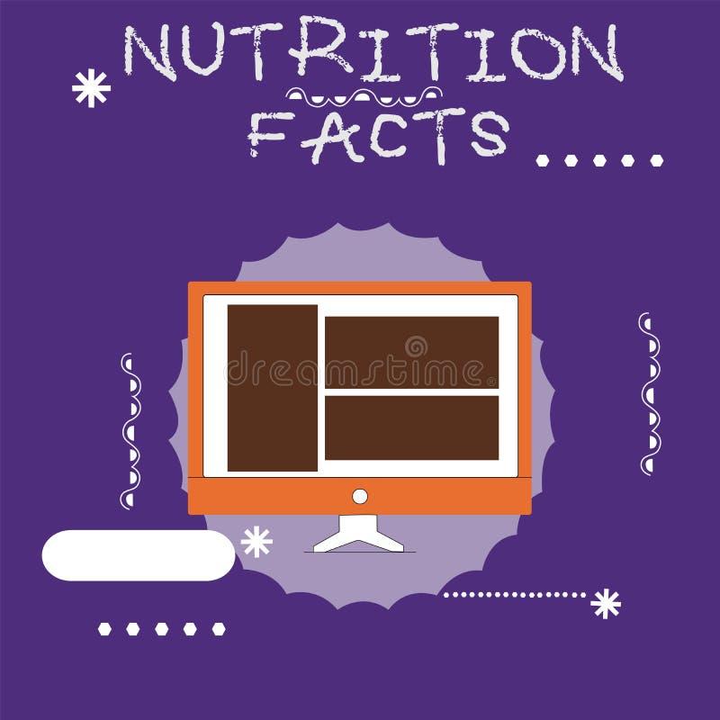 Pisać nutowych pokazuje odżywianie fact Biznesowa fotografia pokazuje szczegółową informację o odżywkach jedzenie ilustracja wektor