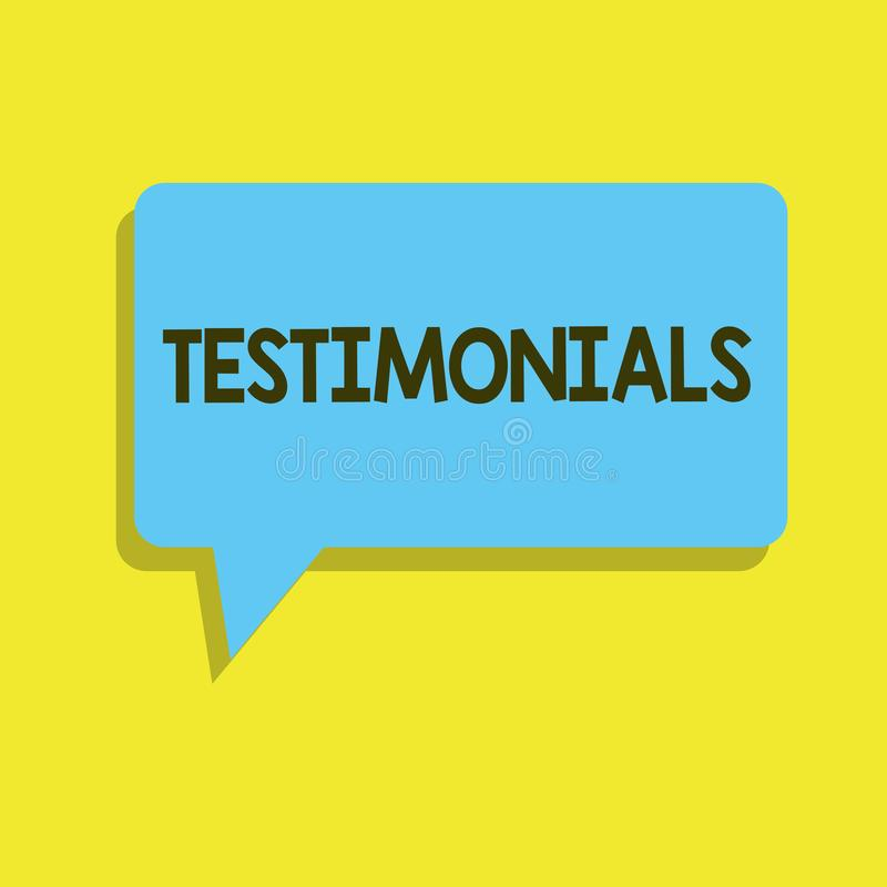 Pisać nutowych pokazuje Testimonials Biznesowa fotografia pokazuje Formalnego oświadczenie zeznaje someone kwalifikacje ilustracja wektor