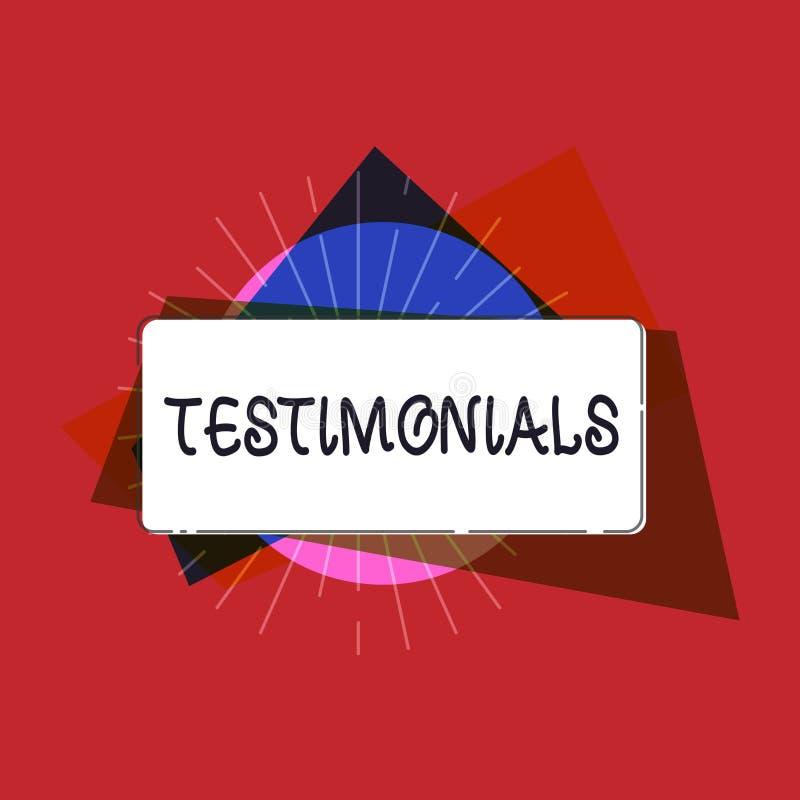 Pisać nutowych pokazuje Testimonials Biznesowa fotografia pokazuje Formalnego oświadczenie zeznaje someone kwalifikacje royalty ilustracja