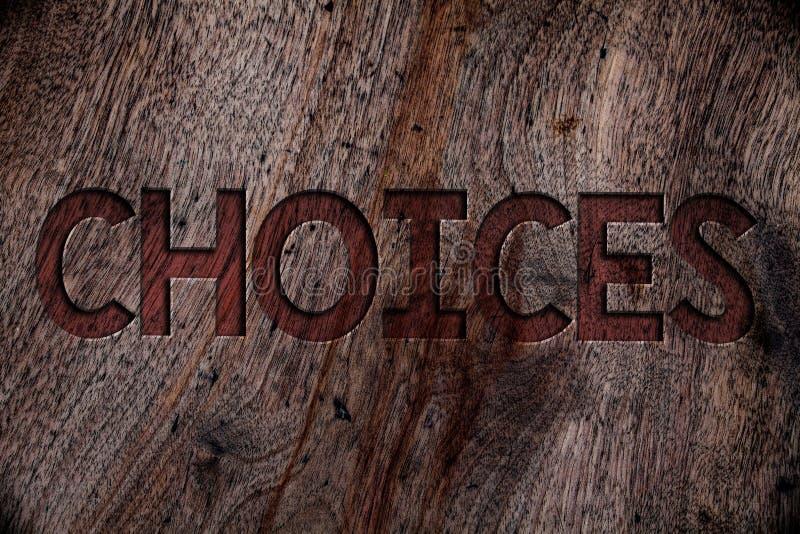 Pisać nutowych pokazuje wyborach Biznesowa fotografia pokazuje Preferansową dyskreci chęć Odróżnia opcja wyboru Drewnianych półdu zdjęcie royalty free