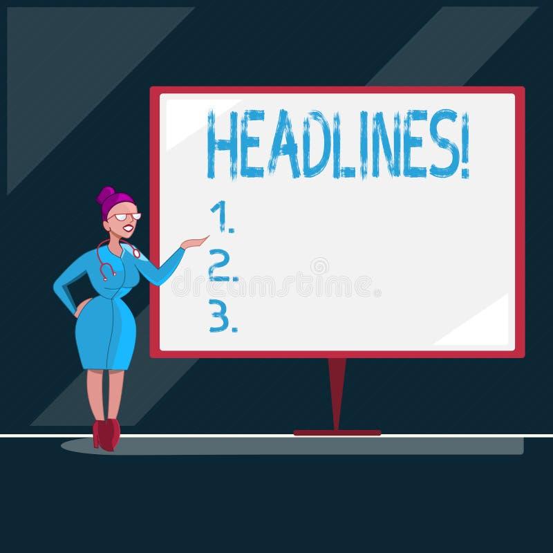 Pisać nutowych seansów nagłówkach Biznesowa fotografia pokazuje kłoszenie przy wierzchołkiem artykuł strona w magazynie lub gazec ilustracji