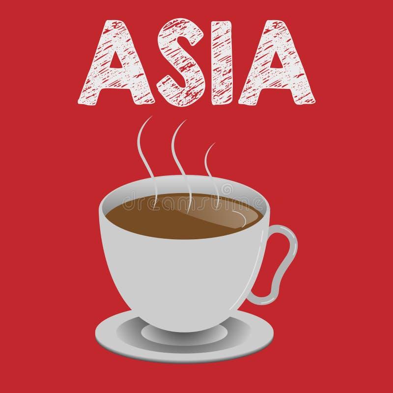 Pisać nutowym pokazuje Azja Biznesowa fotografia pokazuje kontynent Wschodniego i północną półkulę Wielkiego i ludnego ilustracji