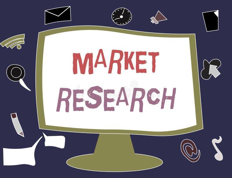 Pisać nutowym pokazuje badaniu rynku Biznesowa fotografia pokazuje acttion zgromadzenie informacja o konsumentach ilustracja wektor