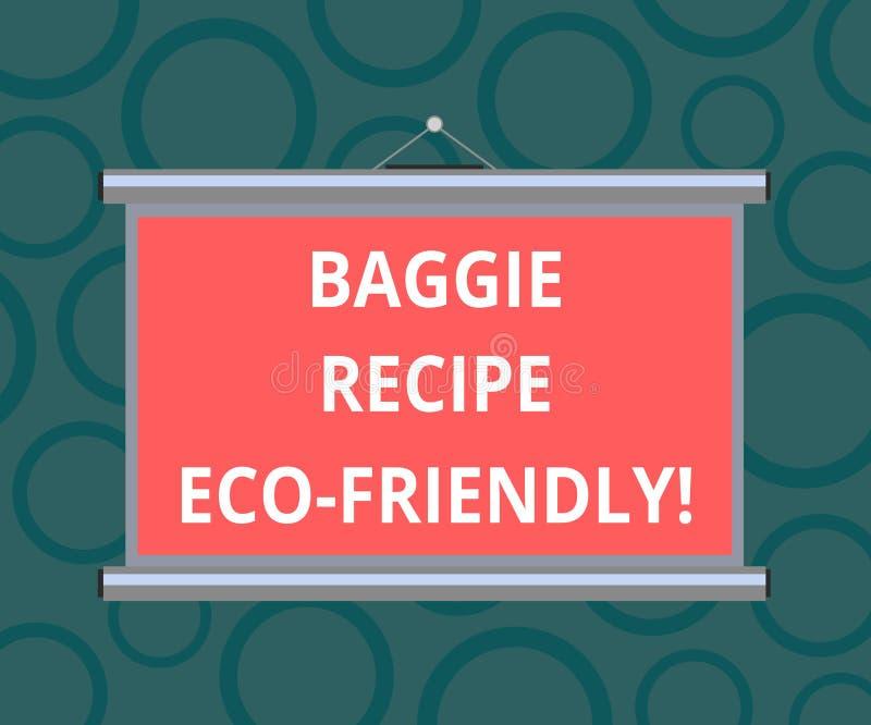Pisać nutowym pokazuje Baggie przepisie Eco Życzliwy Biznesowa fotografia pokazuje torbę na zakupy która może reused analysisy cz ilustracji