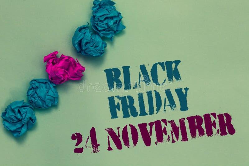 Pisać nutowym pokazuje Black Friday 24 Listopad Biznesowa fotografia pokazuje Specjalnych sprzedaży dziękczynienie pomija odprawa obrazy stock