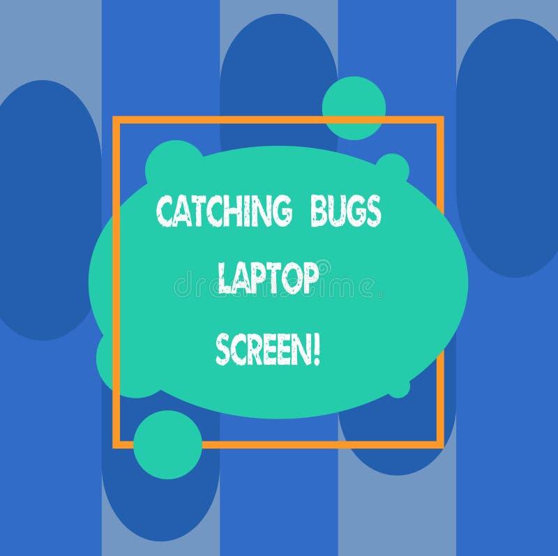 Pisać nutowym pokazuje Chwytającym pluskwa laptopu ekranie Biznesowa fotografia pokazuje system komputerowy ochrony bezpieczeństw royalty ilustracja