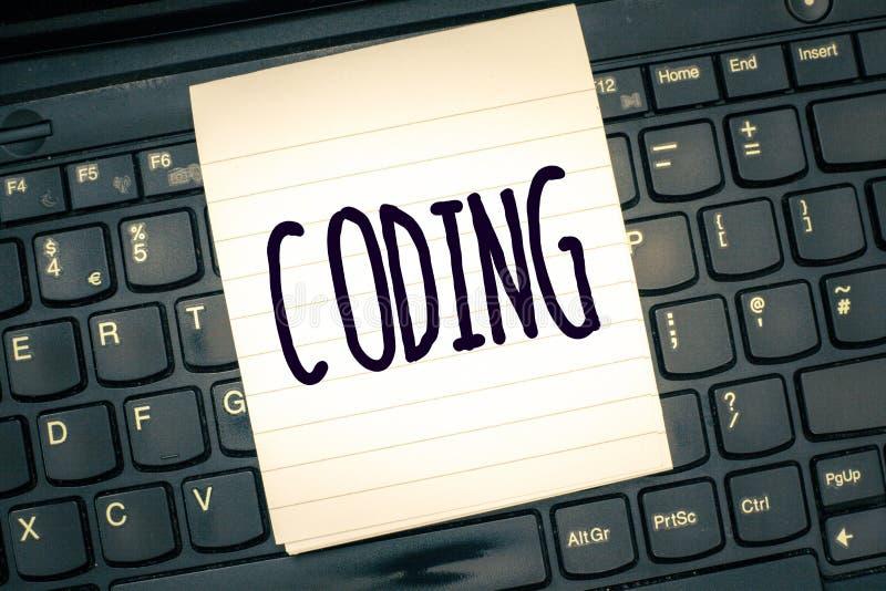Pisać nutowym pokazuje cyfrowaniu Biznesowa fotografia pokazuje wyznaczający kod coś dla klasyfikacyjnej identyfikaci obraz stock